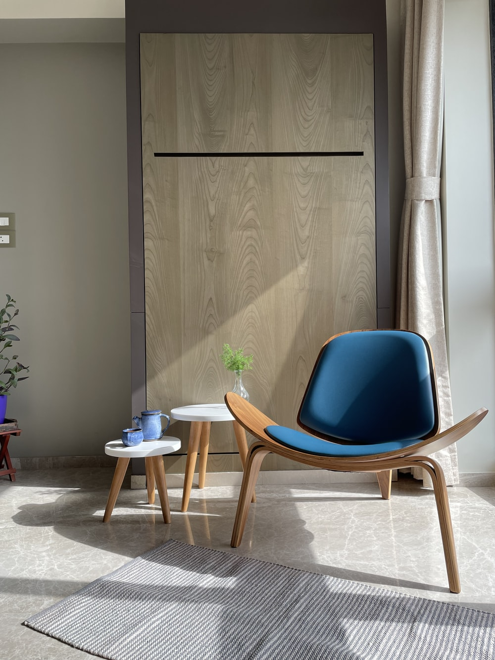 blue and brown wooden chair