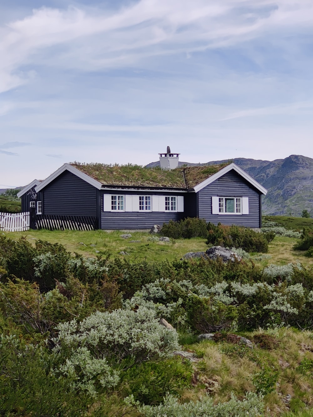 white and black wooden house on green grass field during daytime