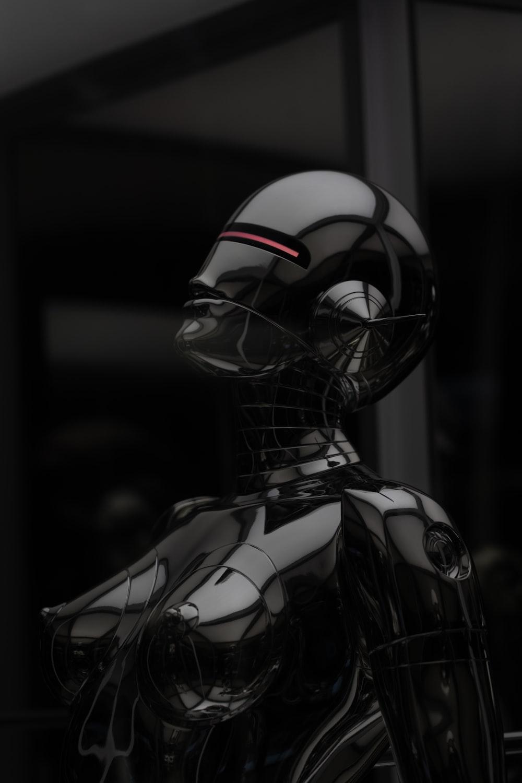 black and white robot illustration