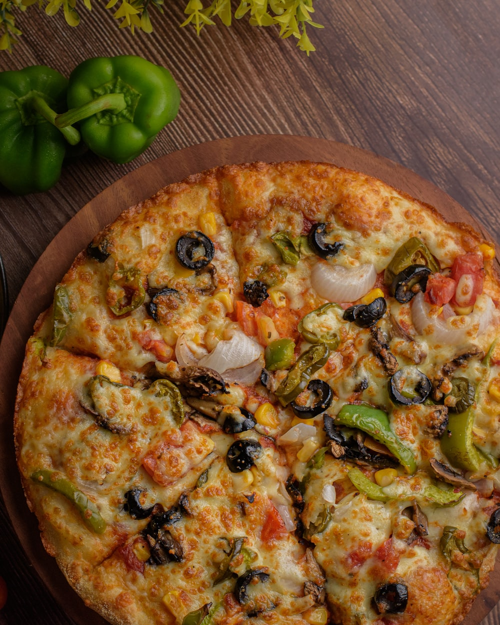pizza with green bell pepper and green bell pepper
