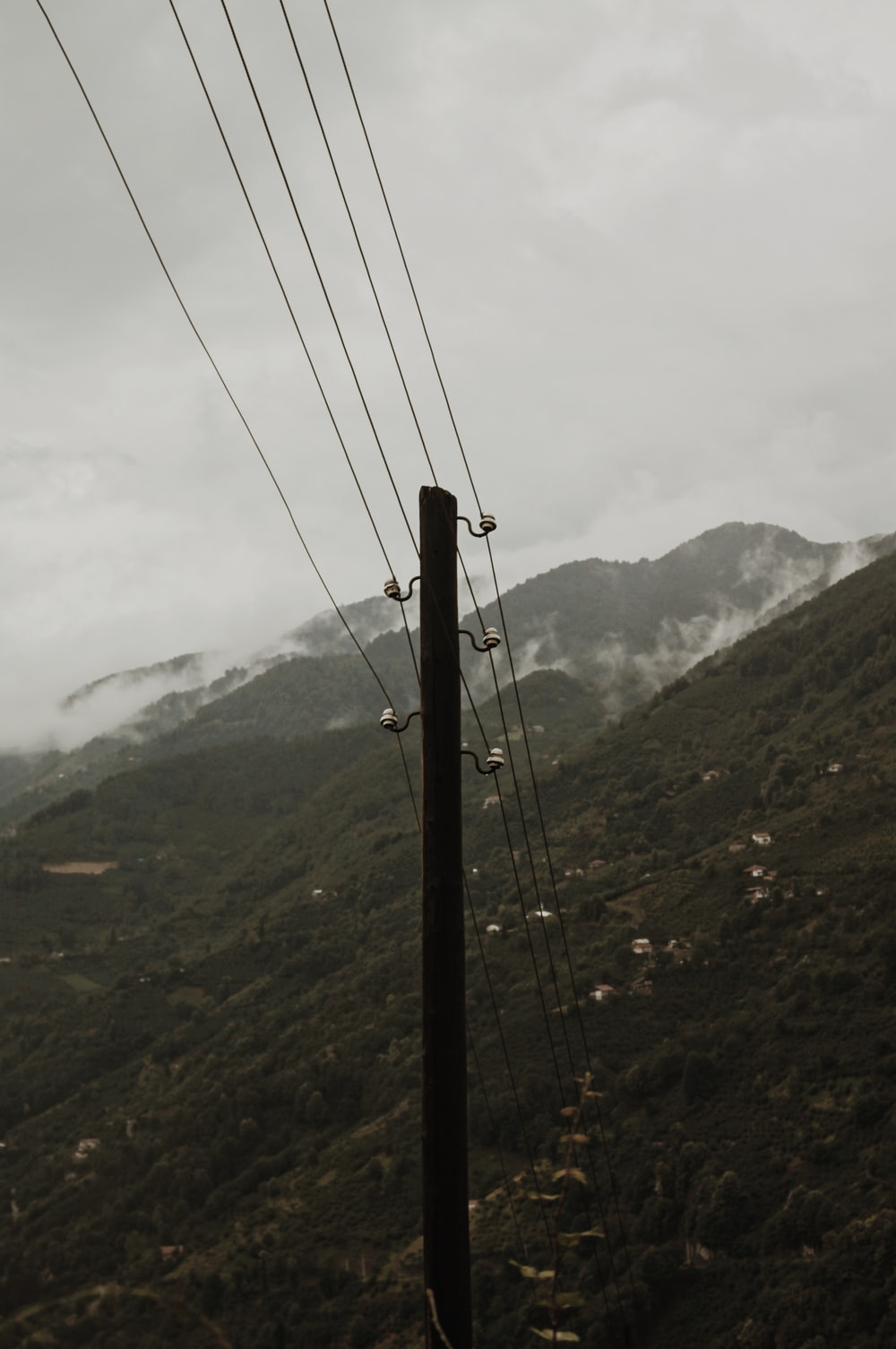 black cable wire over the mountain