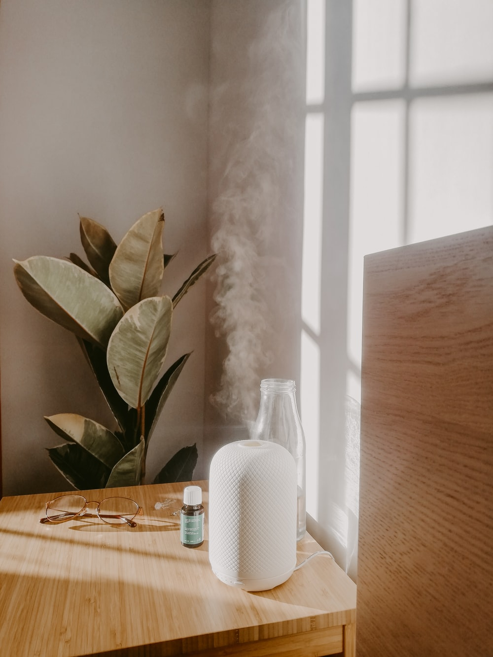 white flower on brown wooden table