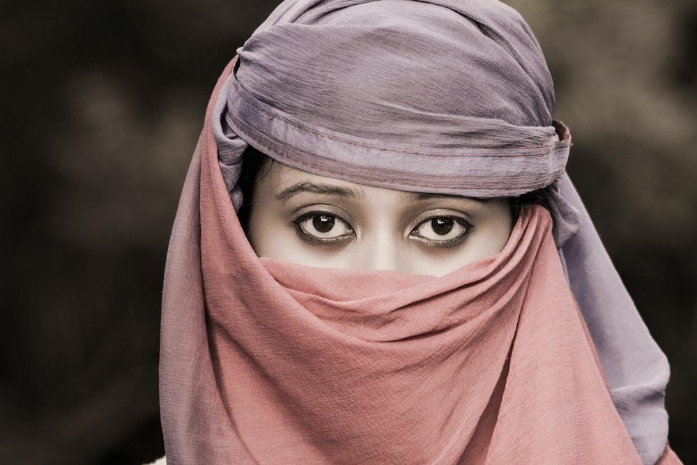 woman in pink hijab and gray hijab