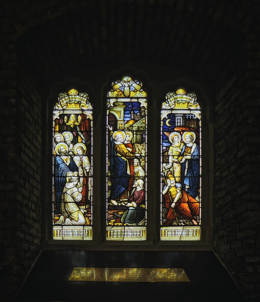 blue red and yellow glass window