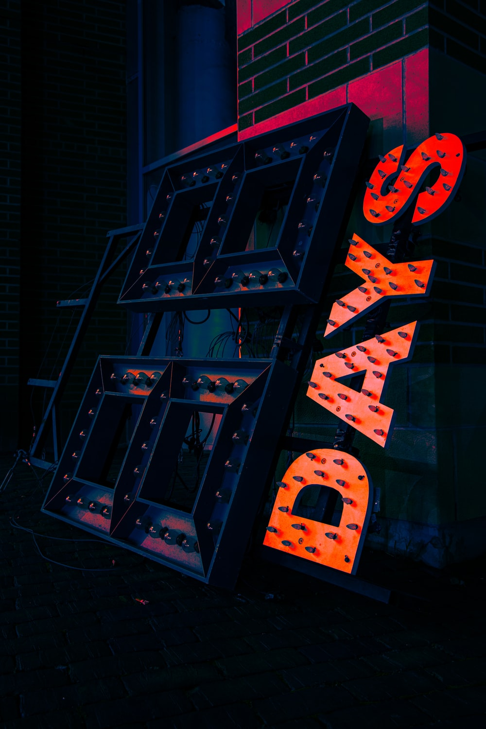 blue and red led light signage