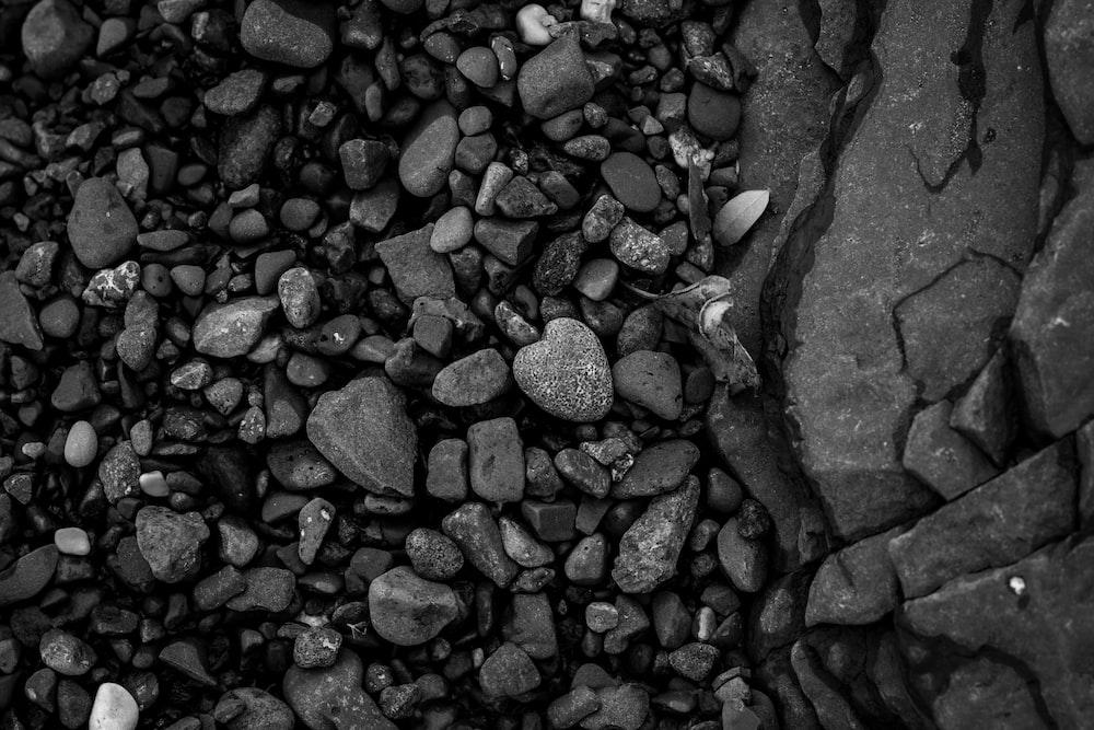 gray scale photo of stones