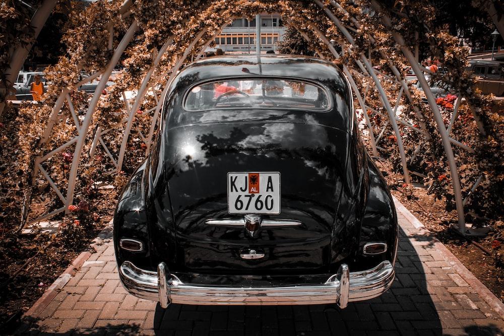 black volkswagen beetle parked on brown soil