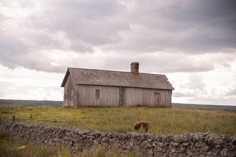 brown wooden barn on green grass field under white cloudy sky during daytime