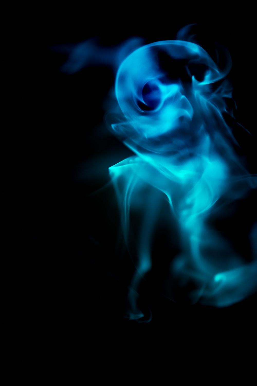 blue and green smoke illustration