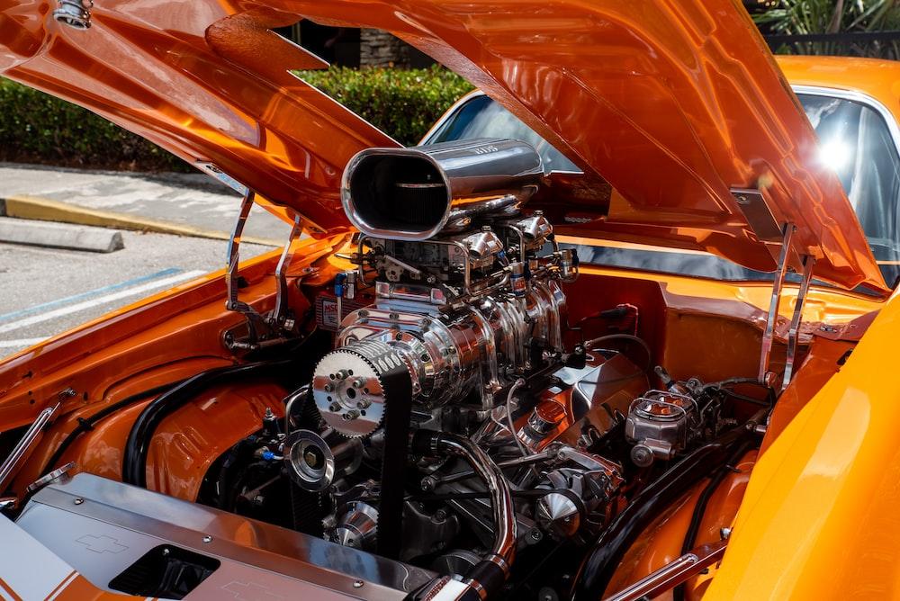 orange and silver vintage car engine