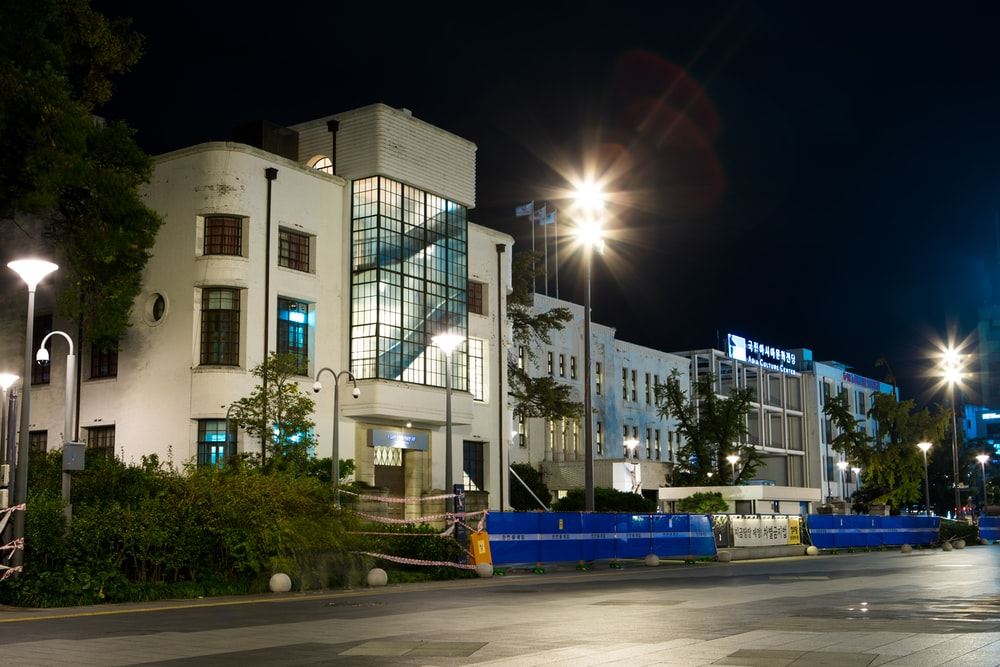 white concrete building during nighttime