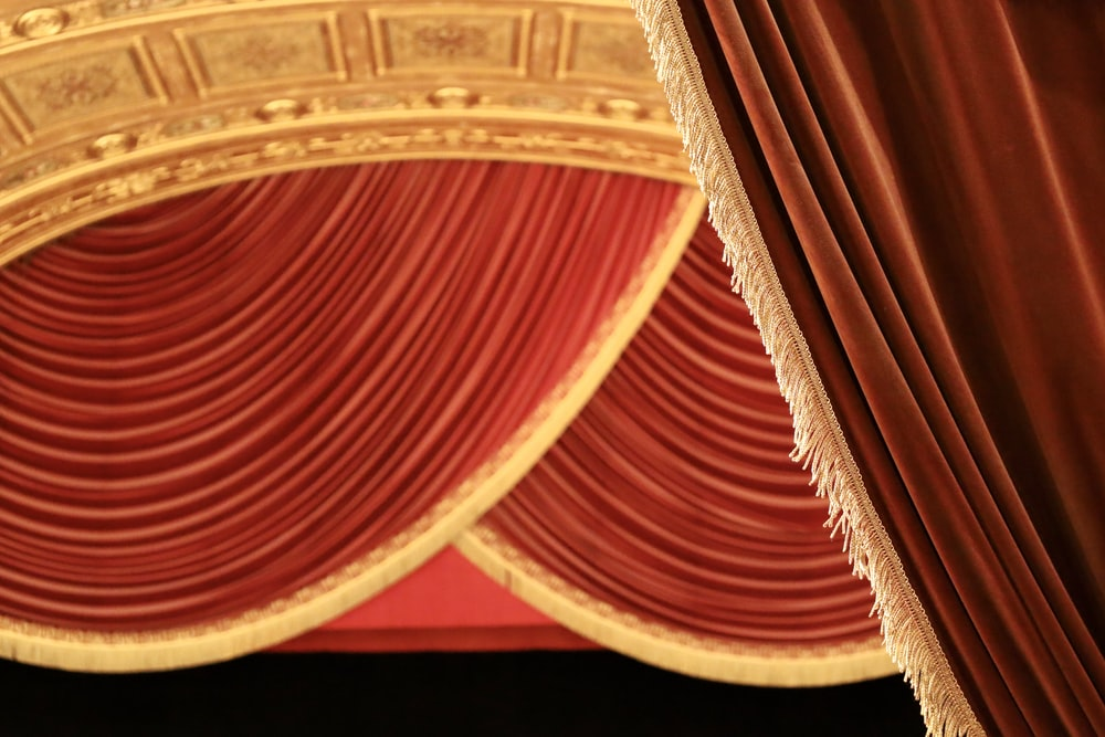 red and brown curtain illustration