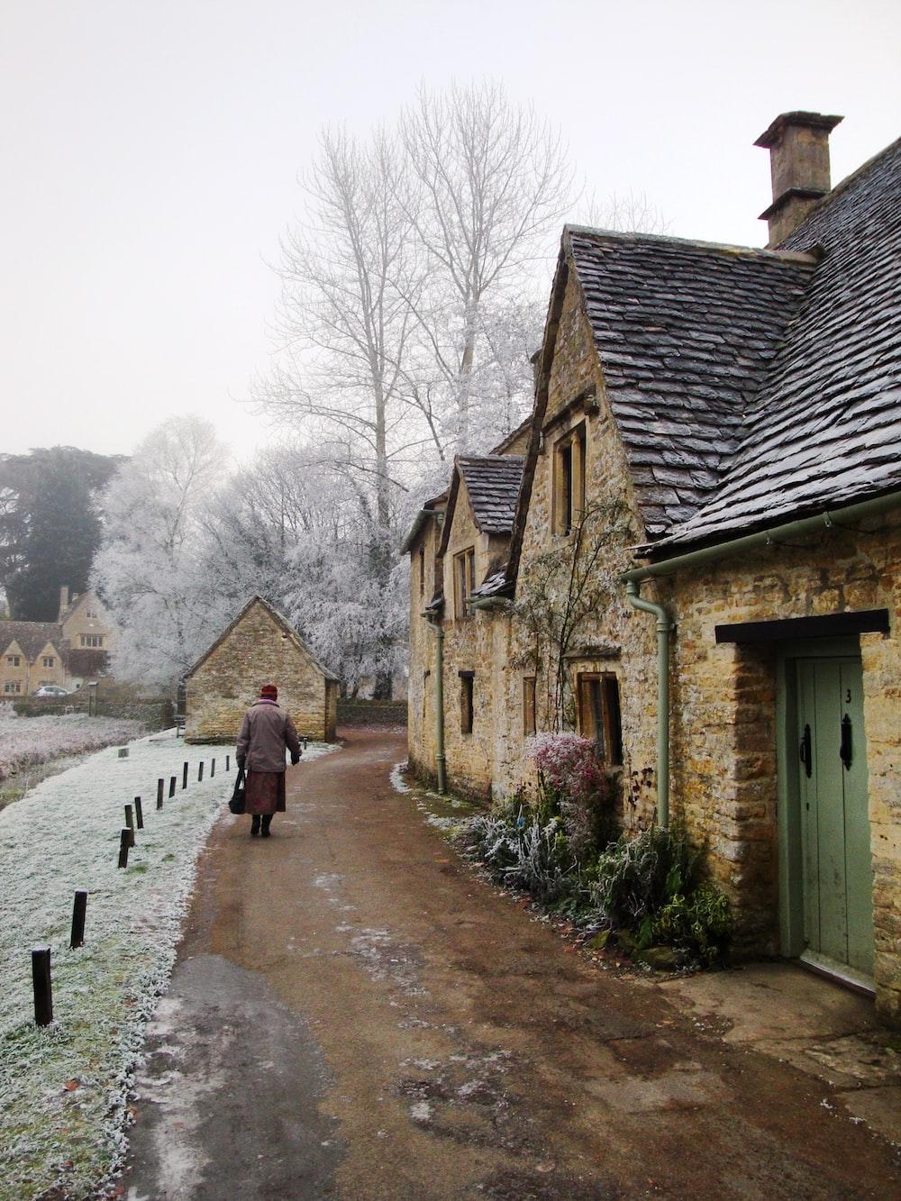 people walking on pathway between houses during daytime