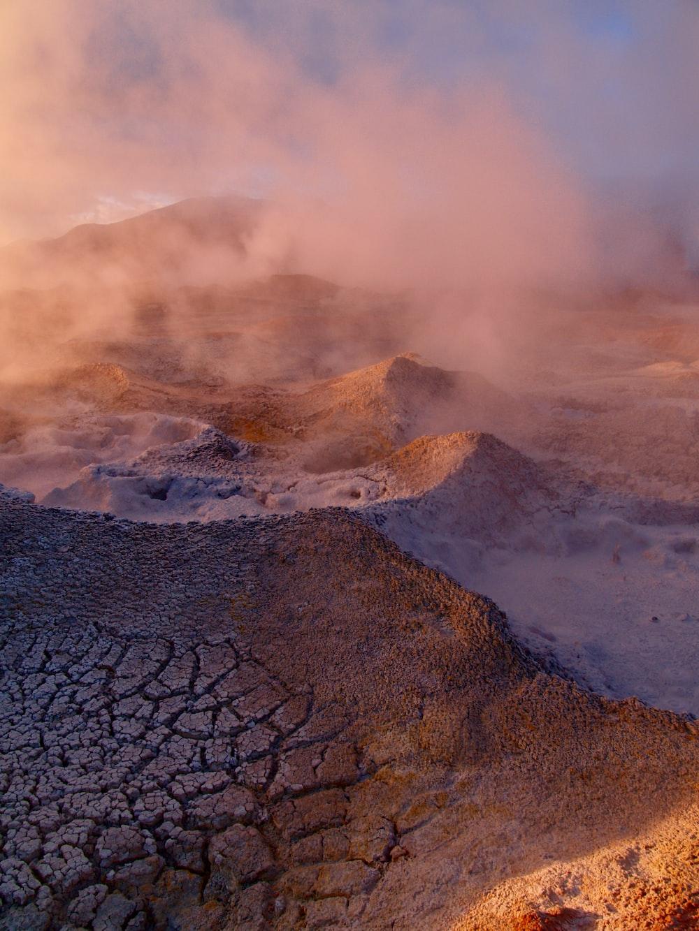 brown sand with white smoke