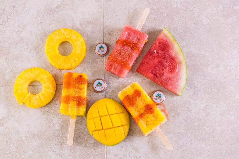 yellow pink and orange ice cream