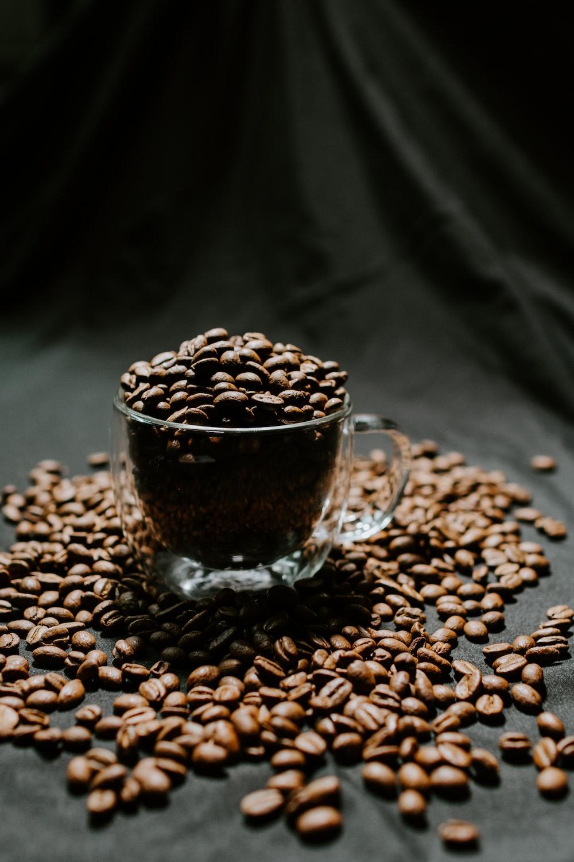 clear glass mug with coffee beans