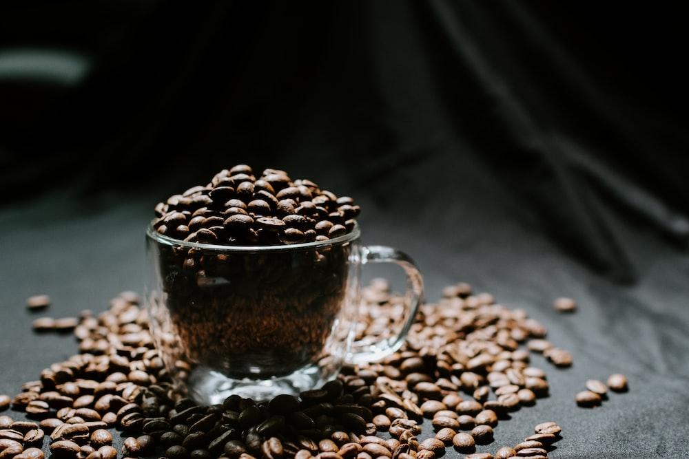coffee beans in clear glass mug