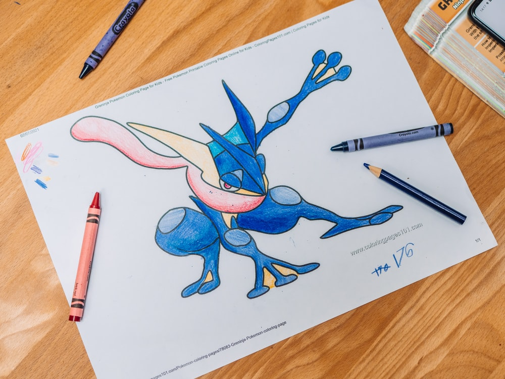 blue and red dragon drawing