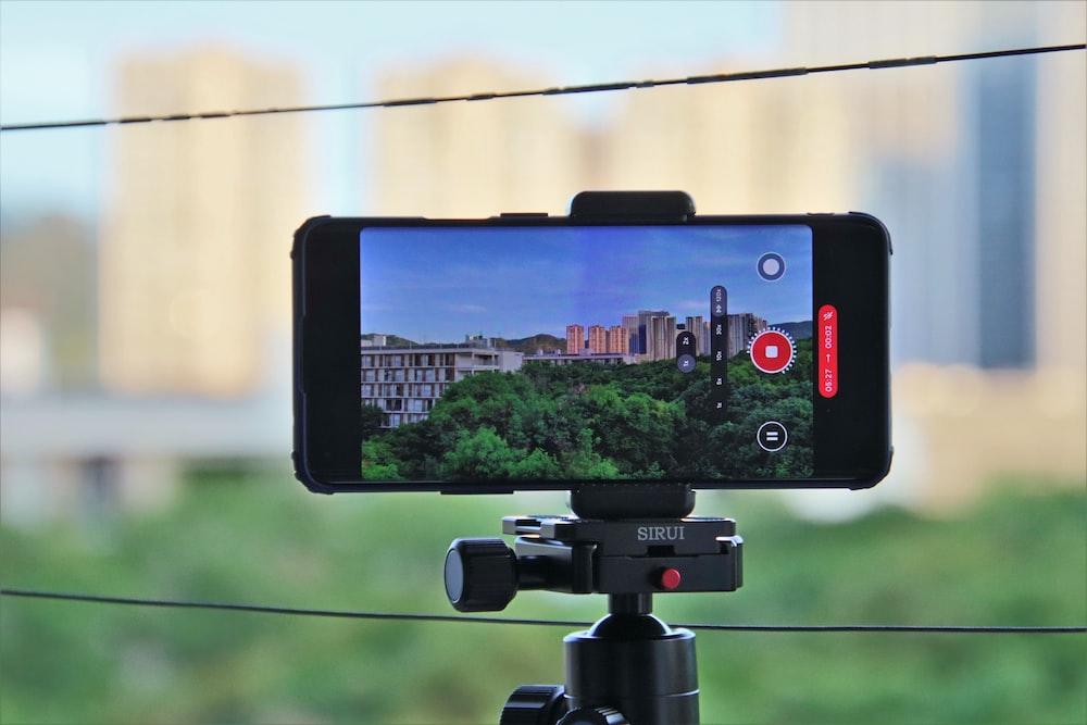 black iphone 4 on camera