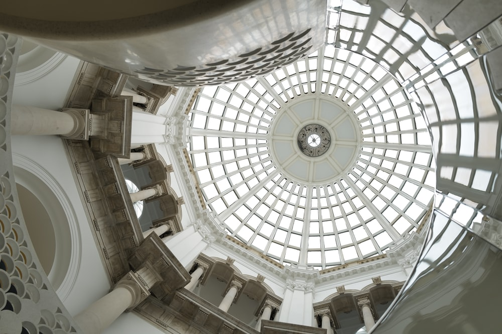 white and brown dome ceiling