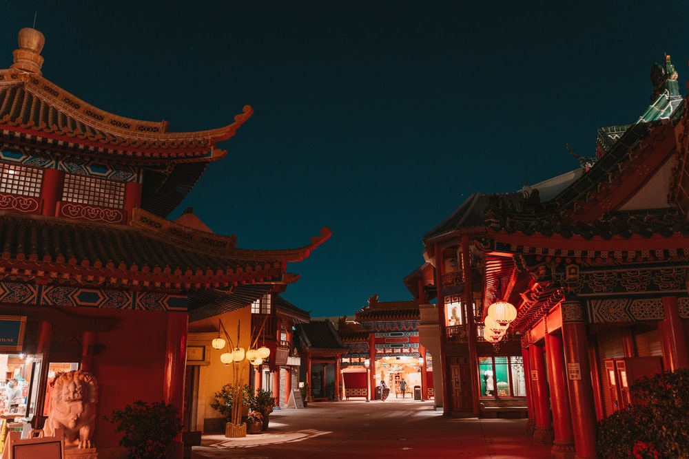 red and brown chinese temple during night time