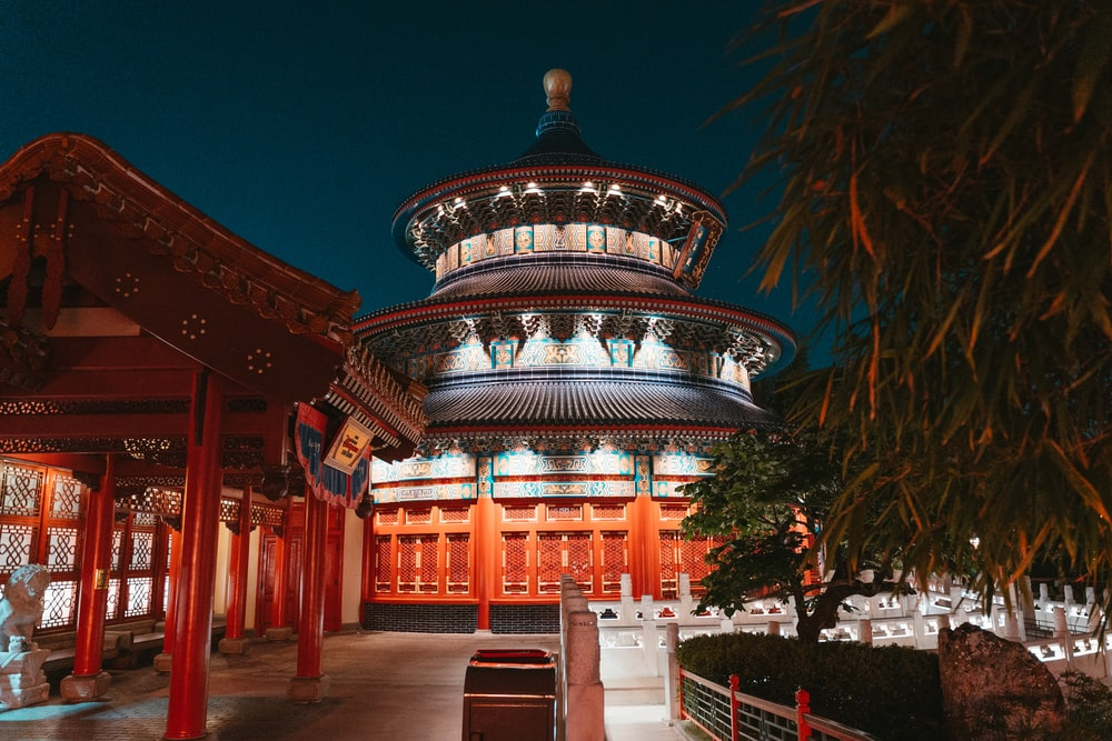 red and gold temple during night time