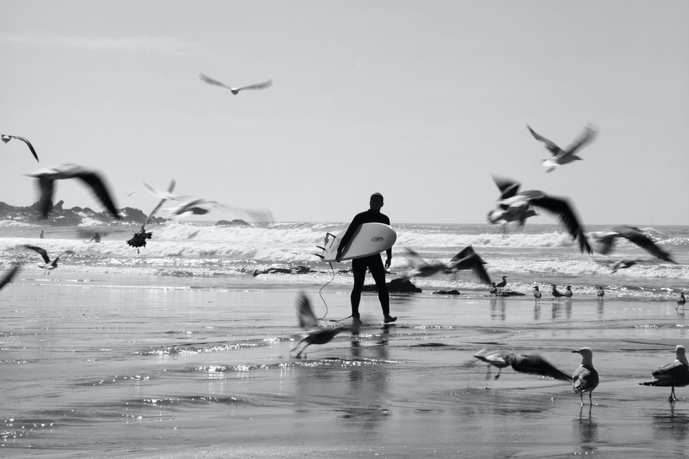 grayscale photo of woman in black tank top walking on beach with birds