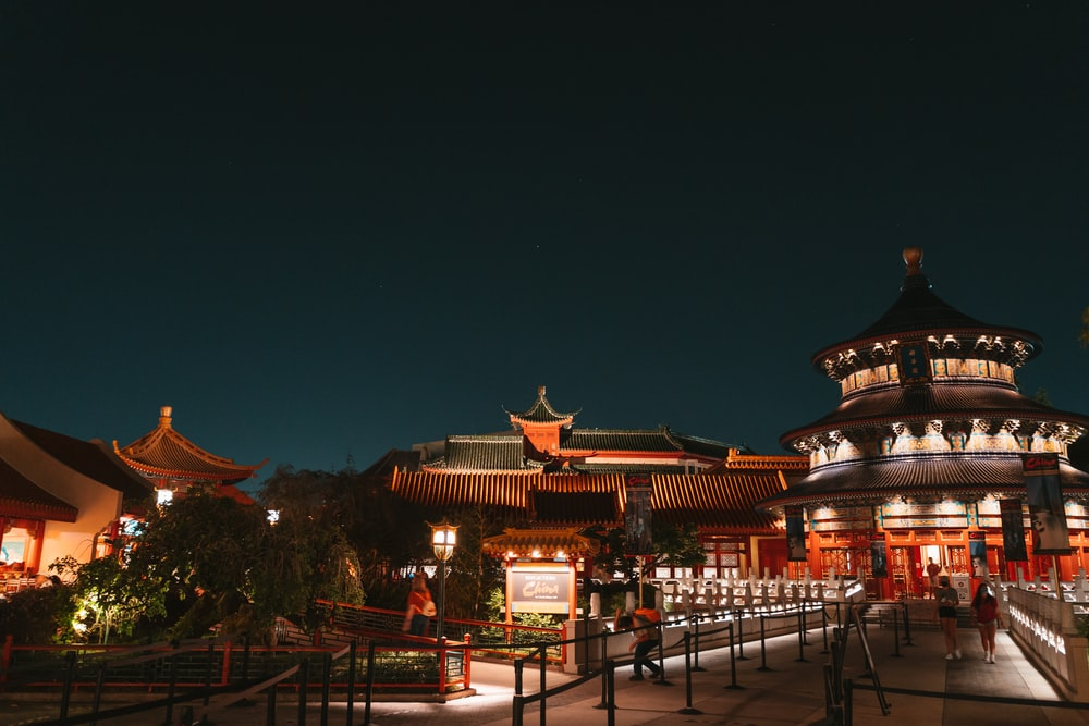 brown and white temple during night time