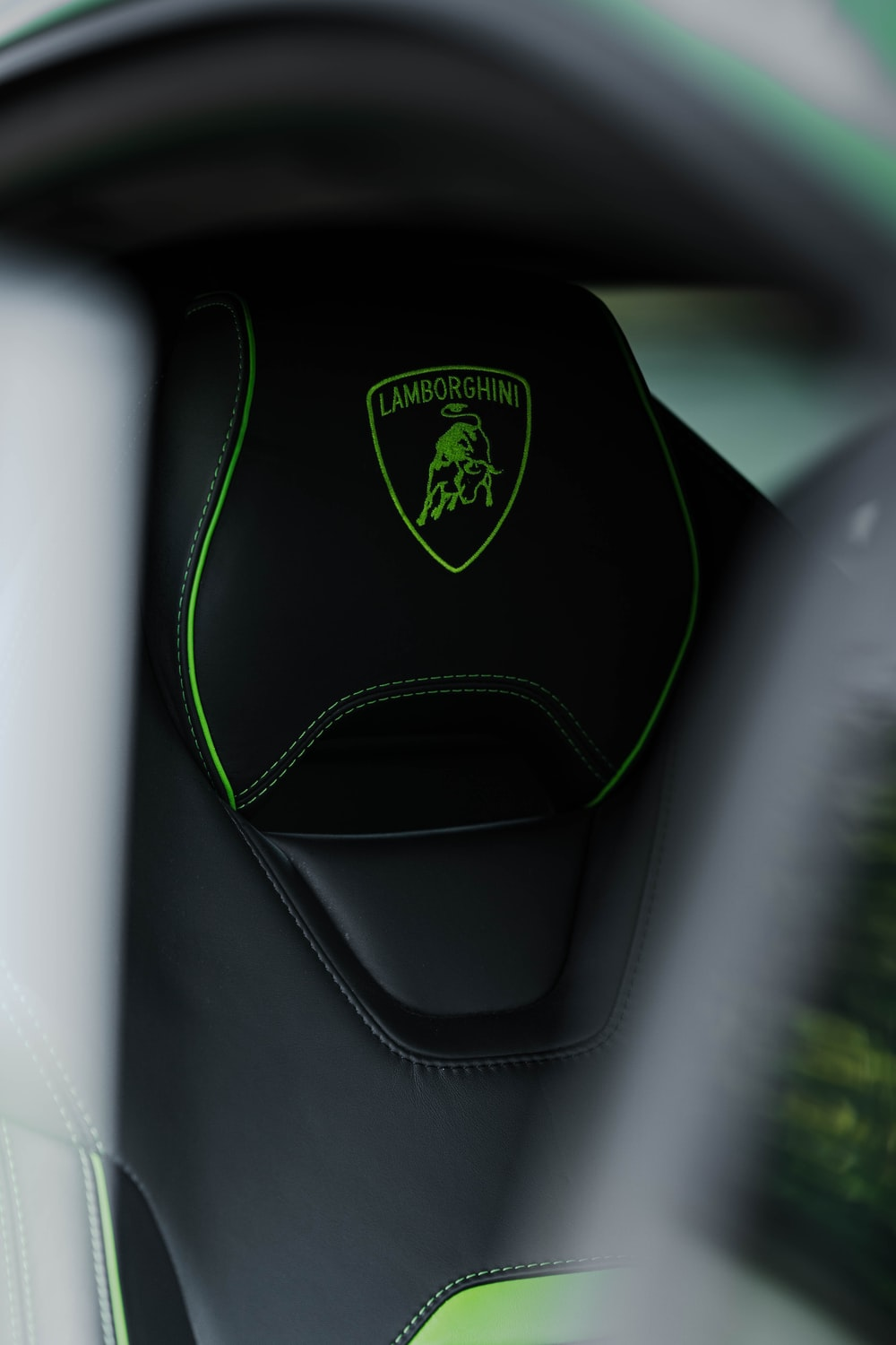 black and green car seat