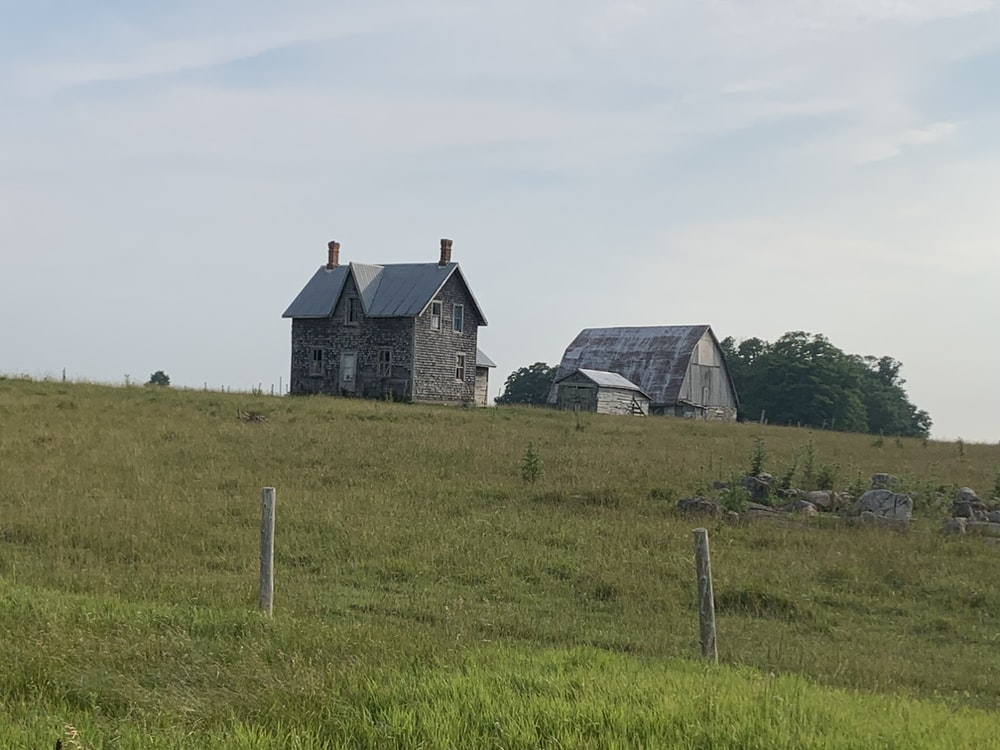 gray and black house on green grass field during daytime
