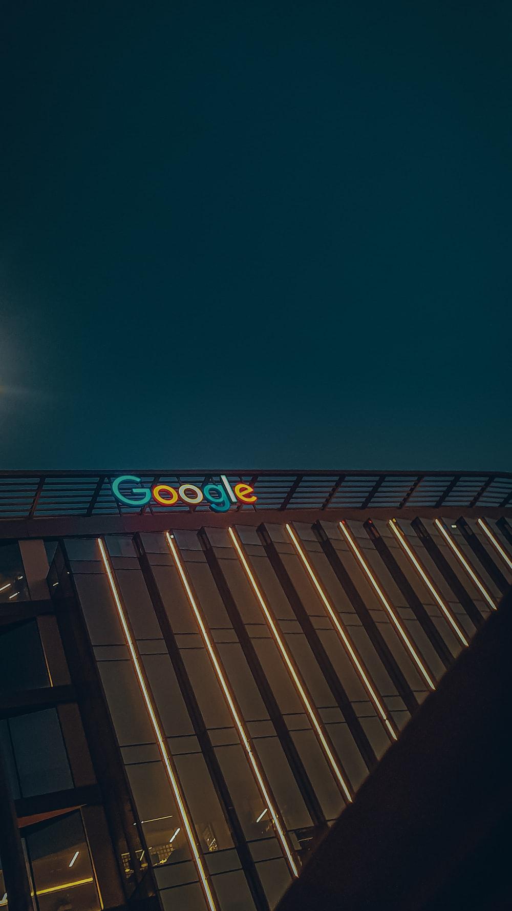 black and blue lighted signage