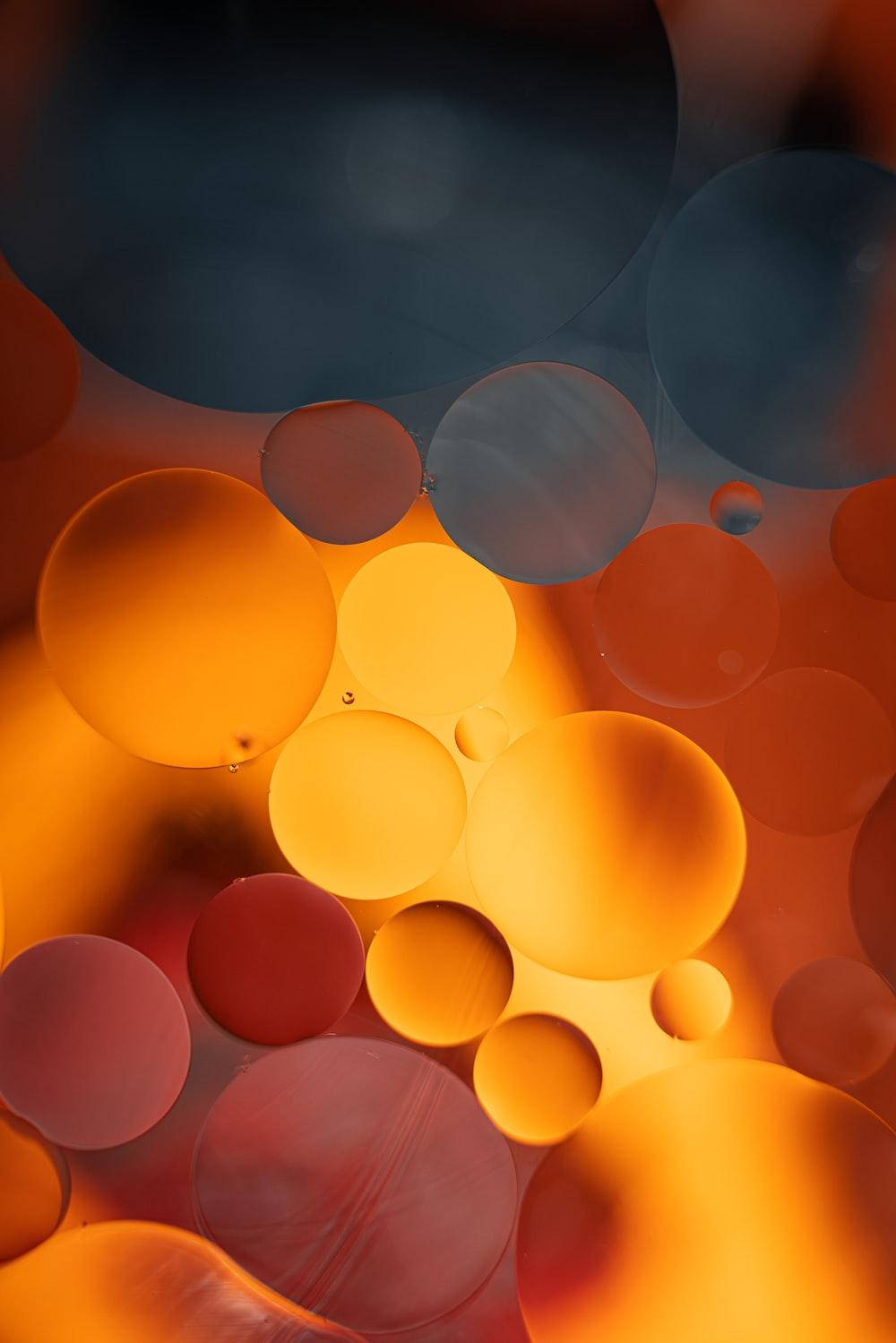 orange balloons in the sky