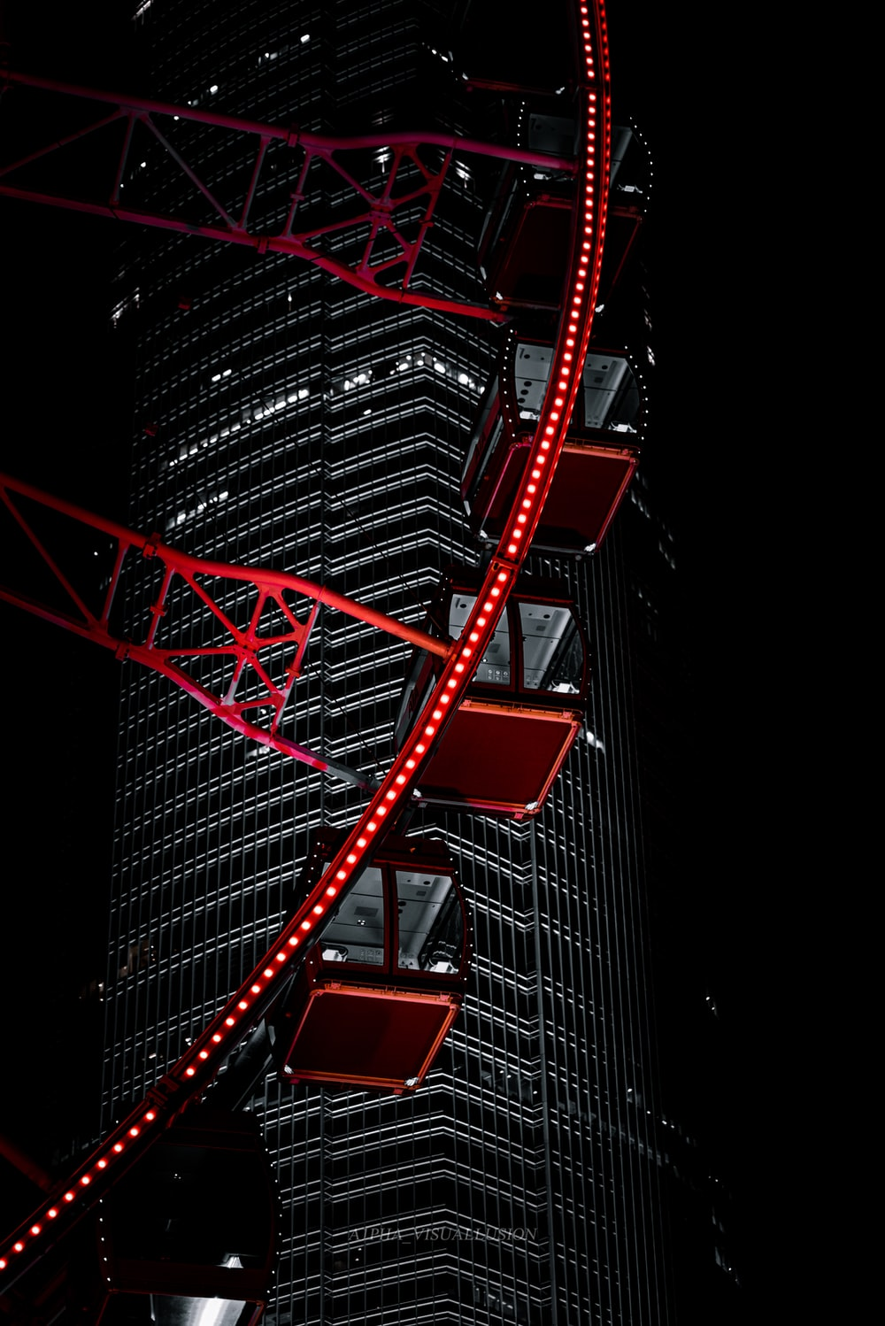 red and black spiral stairs