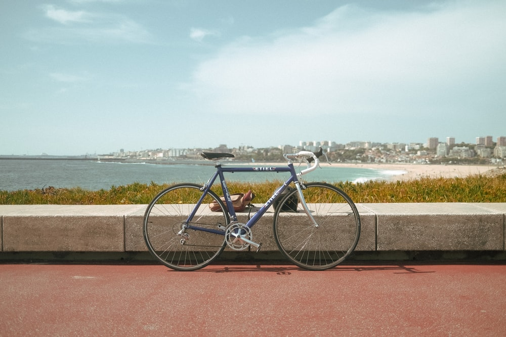 blue city bike parked on brown concrete pavement near body of water during daytime