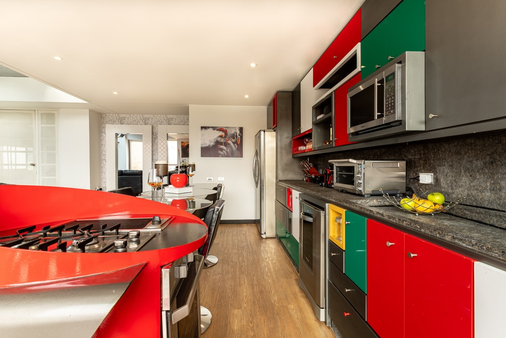 black and red kitchen cabinet