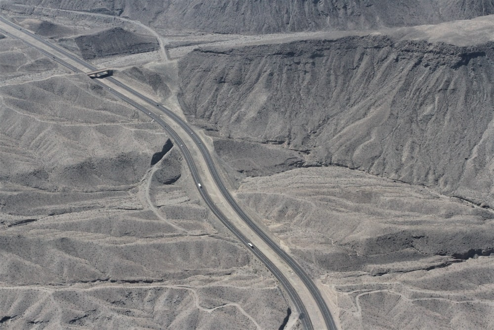 aerial view of gray road