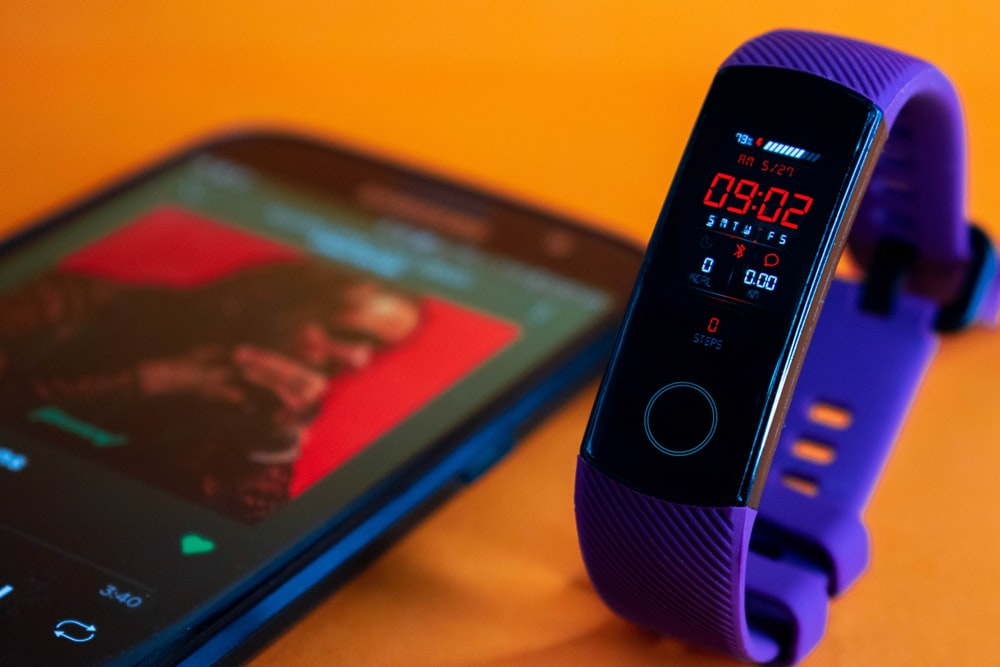 black and blue digital device