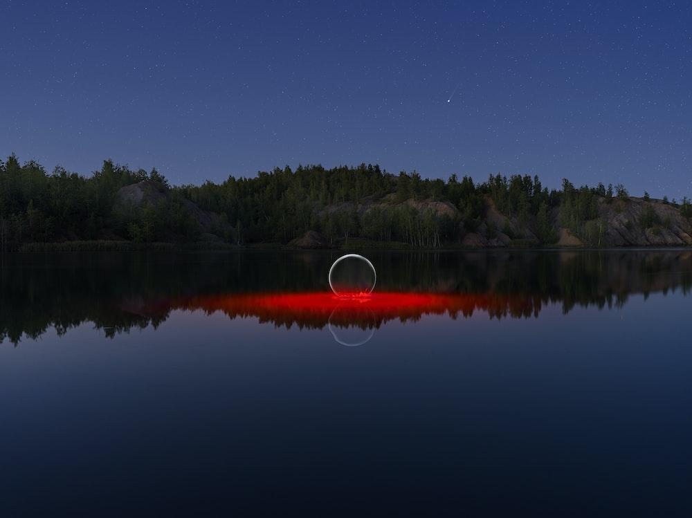green trees beside lake during night time