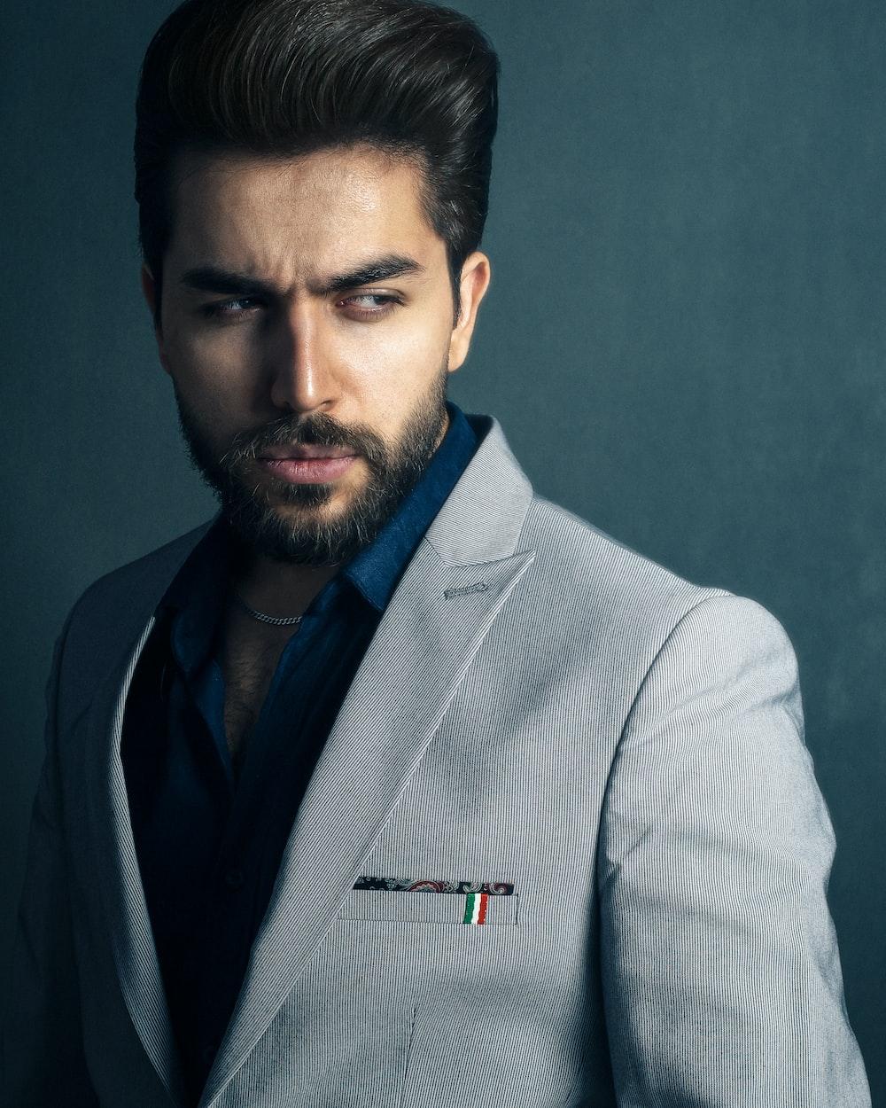 man in gray suit jacket