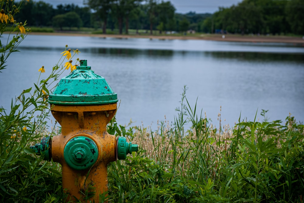 green and brown water pump