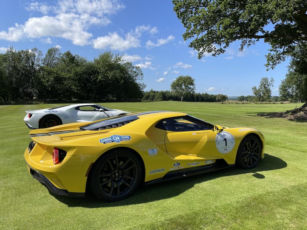 yellow ferrari 458 italia parked on green grass field during daytime