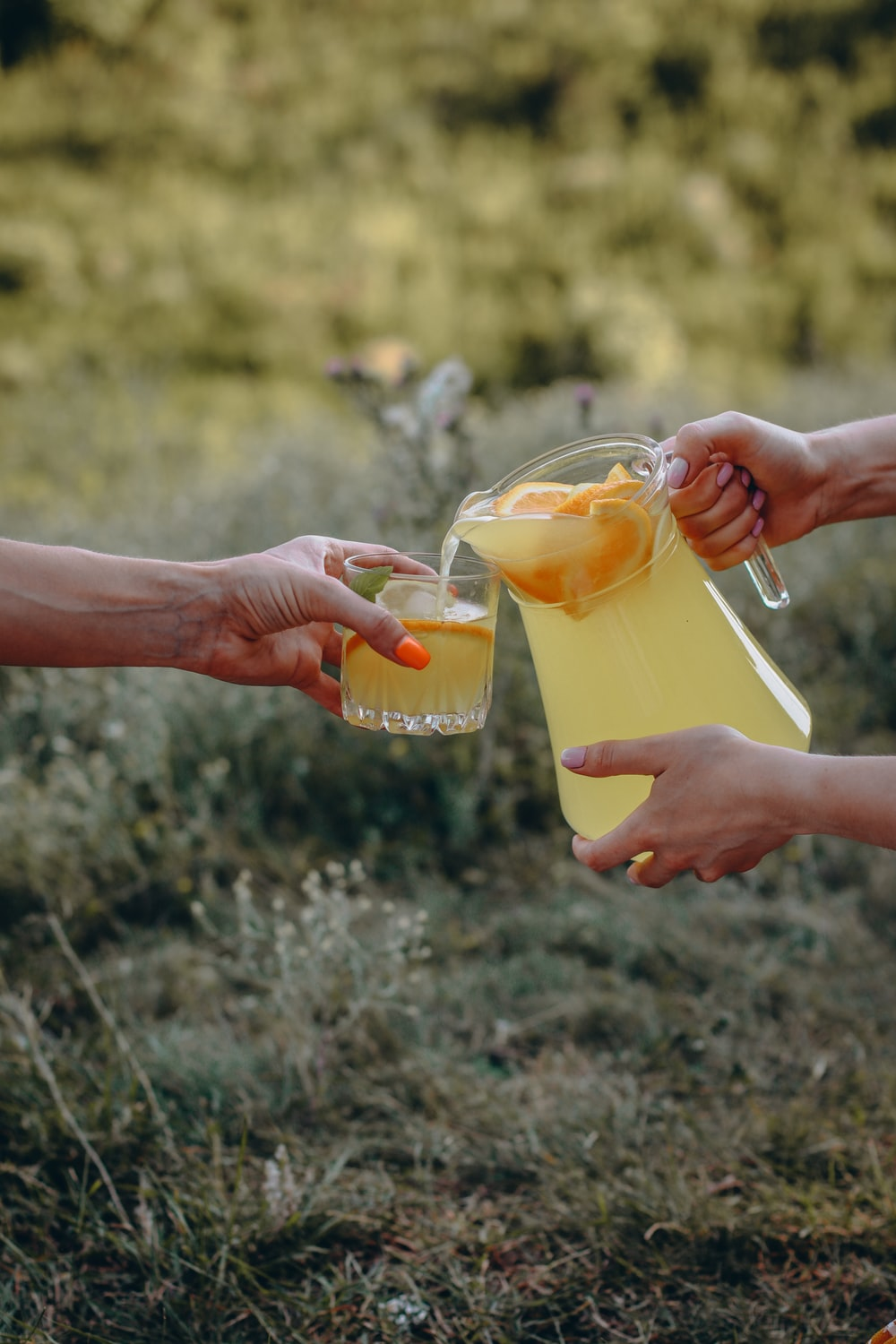 person holding clear drinking glass with yellow liquid