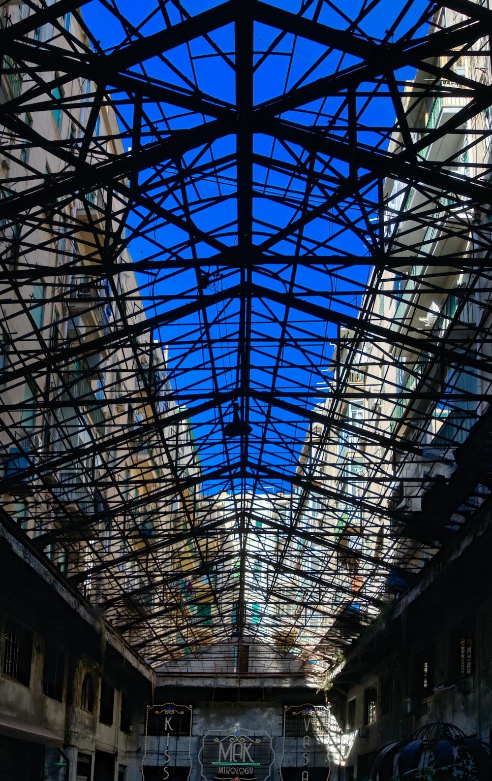 black metal framed glass roof