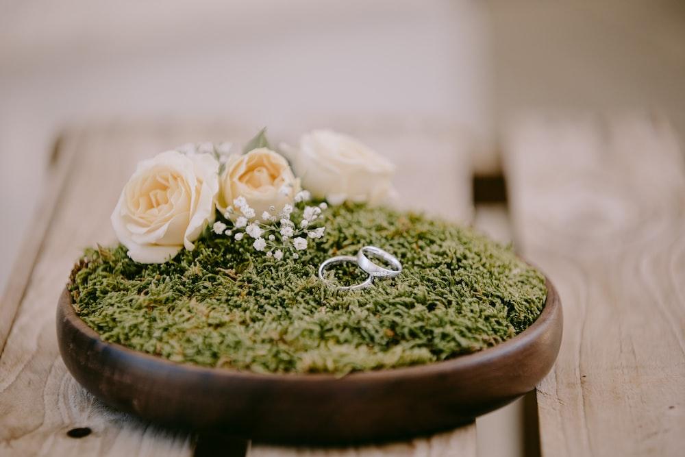 white flower on green round ceramic plate