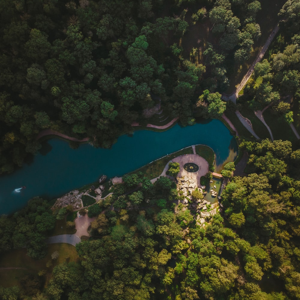 aerial view of blue lake surrounded by green trees during daytime