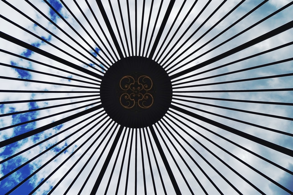 white and blue round logo
