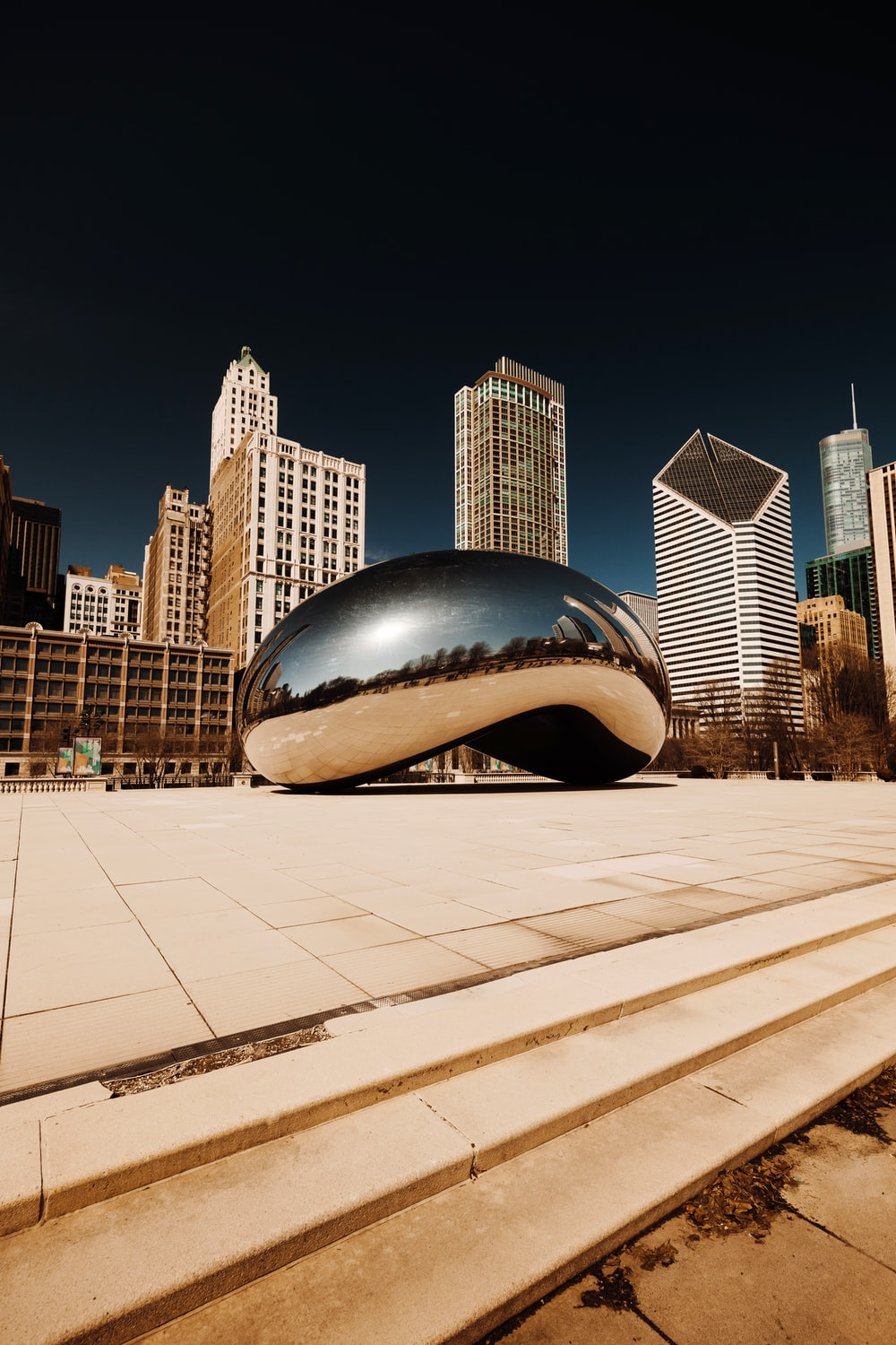 cloud gate chicago during night time