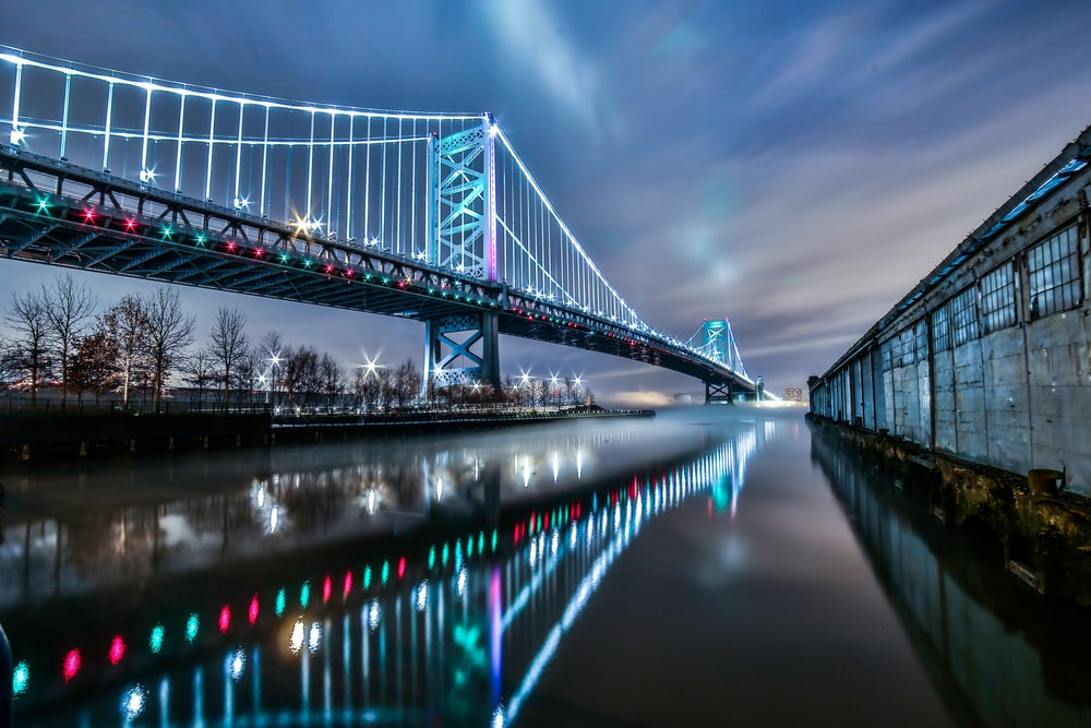bridge over water under cloudy sky during daytime