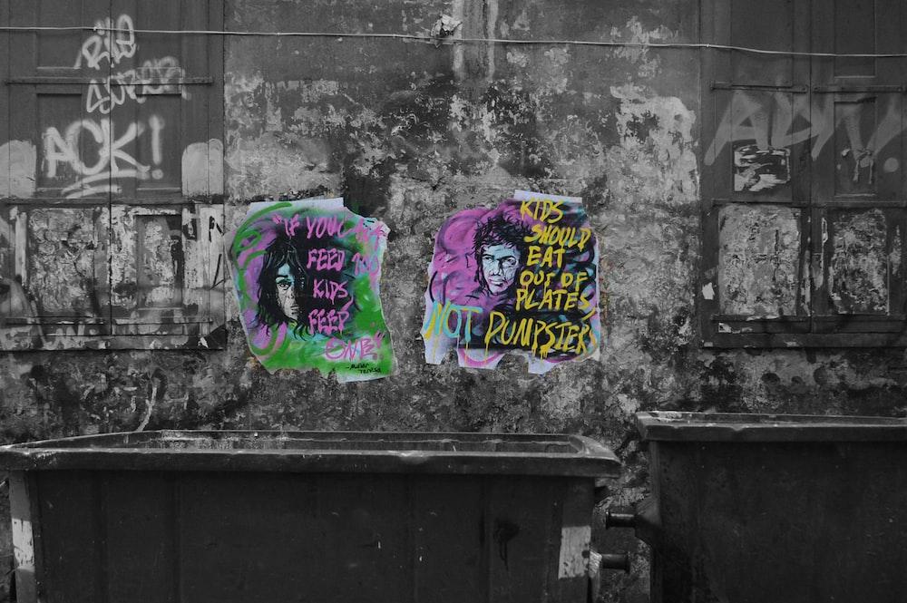 purple and blue graffiti on wall