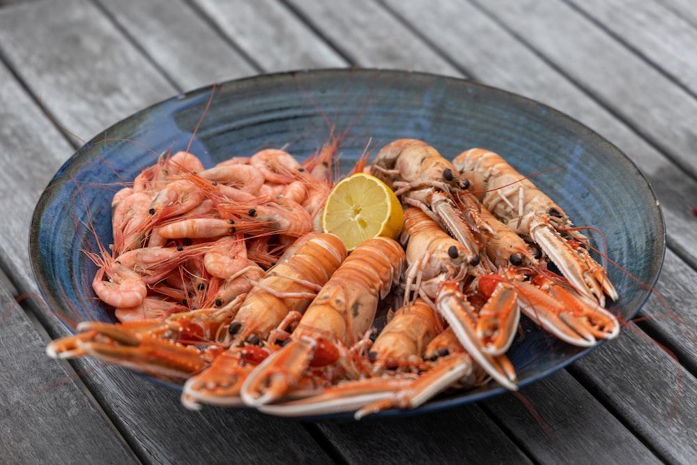 shrimp on stainless steel bowl